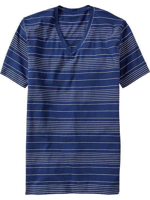 Thin Stripe V Neck Tees - Blue     Item#:939741042