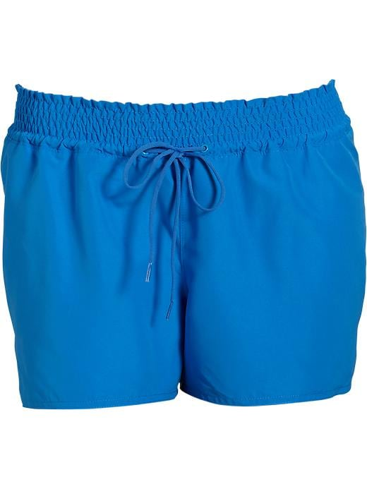 "Old Navy Womens Plus Smocked Waist Board Shorts 3 1/2"" - Dorie blue nylon"