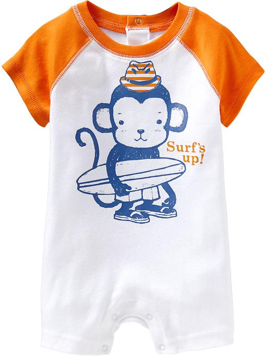 White Surfing Monkey Bodysuit For Baby Boys
