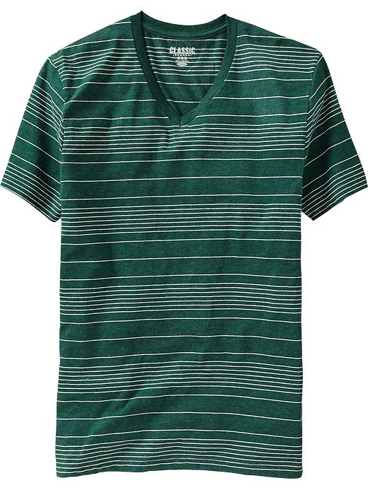 Thin Stripe V Neck Tees - Green     Item#:939741052