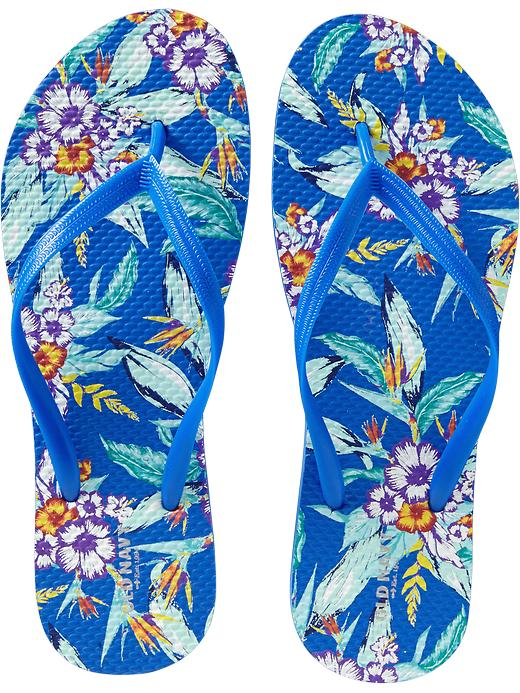 Old Navy Womens Printed Flip Flops - Blue floral
