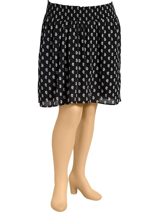 Old Navy Womens Plus Smocked Gauze Skirts - Black print