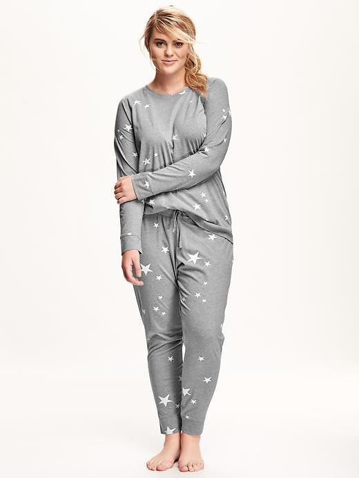 Old Navy Printed Jersey Plus Size PJ Set Plus - Grey Stars
