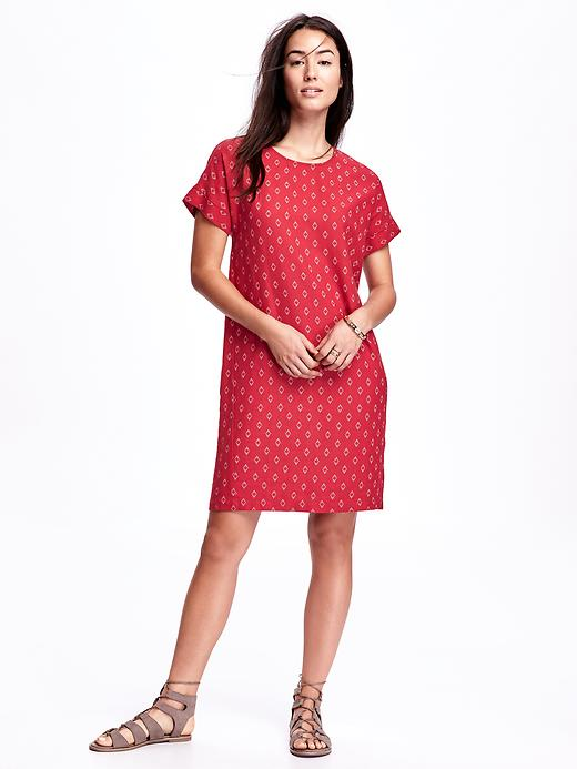 Old Navy Printed Linen Blend Cocoon Dress For Women Size XS Petite - Red print