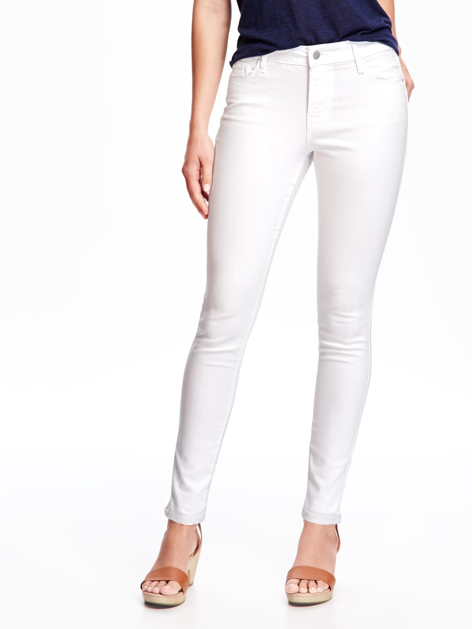Mid-Rise Stay White Rockstar Skinny Jeans for Women | Old Navy