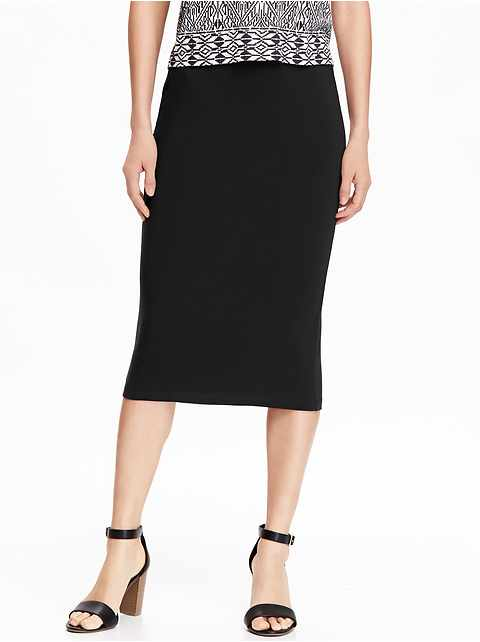 Jersey Pencil Midi Skirt for Women