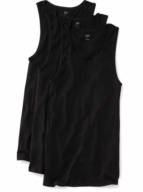 Go-Dry Soft-Washed Rib-Knit Tanks 3-Pack for Men