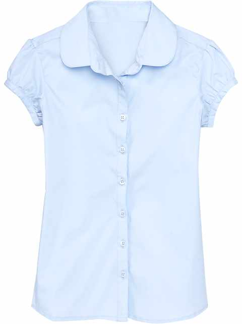 Ruched-Sleeve Uniform Shirt for Girls