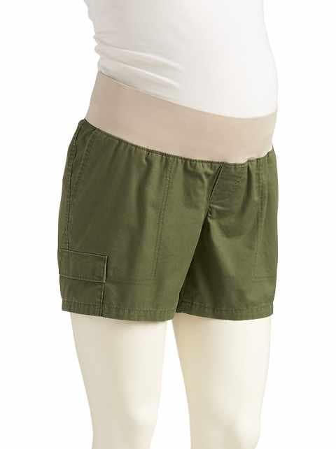 "Maternity Low-Panel Twill Utility Shorts (5"")"