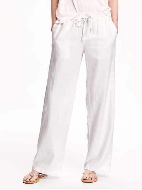 Mid-Rise Linen-Blend Pants for Women