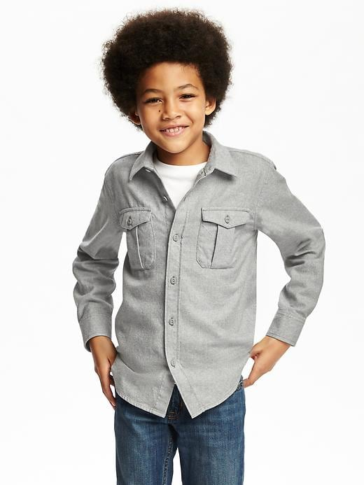 Heathered Flannel Shirt for Boys