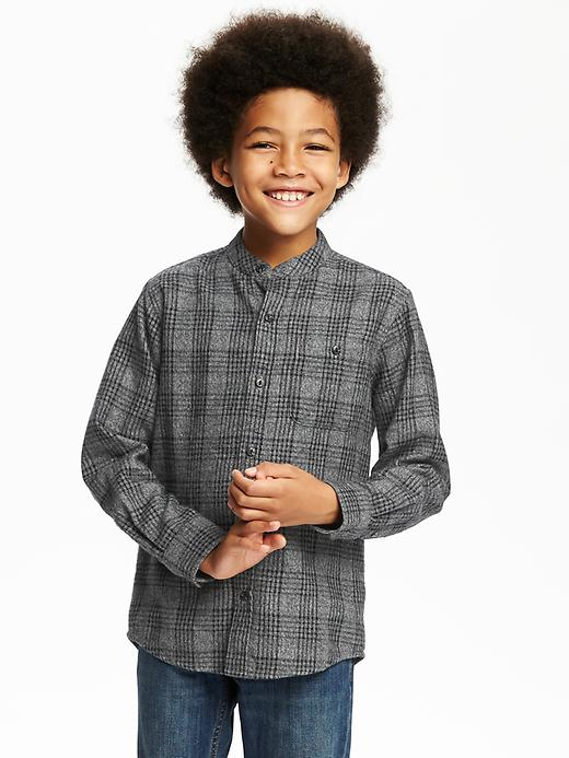 Banded-Collar Plaid Flannel Shirt for Boys