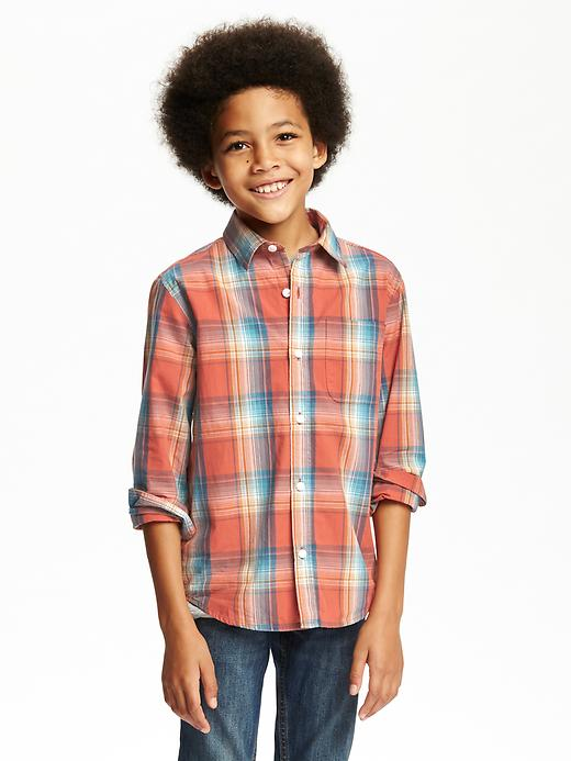 Classic Plaid Pocket Shirt for Boys