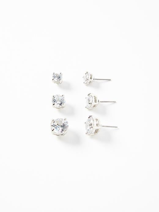 Cubic Zirconia Stud Earring 3 Pack For Women by Old Navy