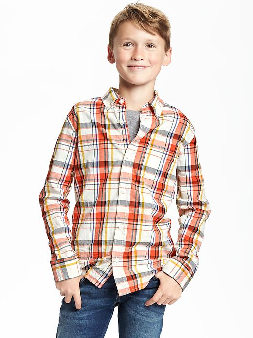 Regular-Fit Classic Plaid Shirt for Boys