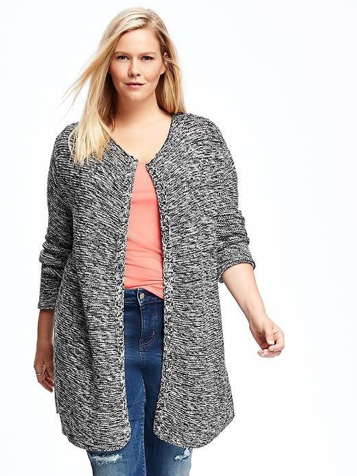 Old Navy Relaxed Plus Size Open Front Textured Cardi Size 1X Plus - Black marl