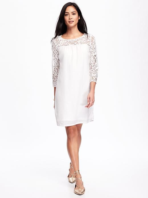Lace-Trim Shift Dress for Women