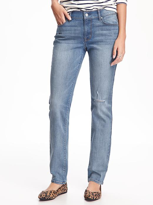 Original Distressed Straight Jeans For Women