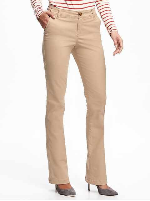 a6370a2732e Mid-Rise Boot-Cut Khakis for Women