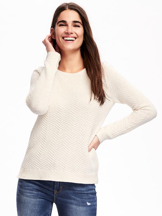 Old Navy Relaxed Textured Crew Neck Sweater For Women Size XL - Creme de la creme