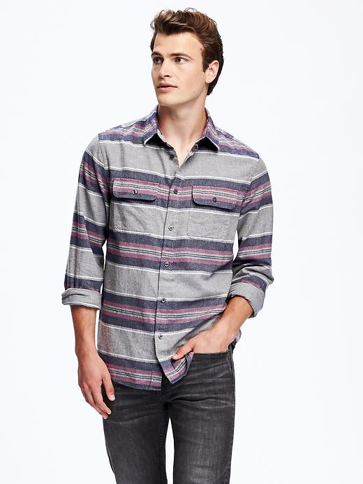 Old Navy Mens Regular-Fit Plaid Flannel Pocket Shirt (Apricot or Navy Stripe)