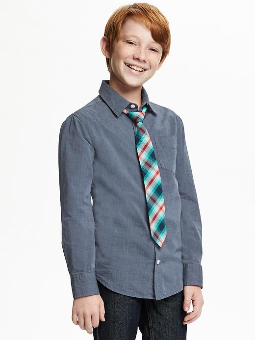 Button-Front Shirt & Tie Set for Boys