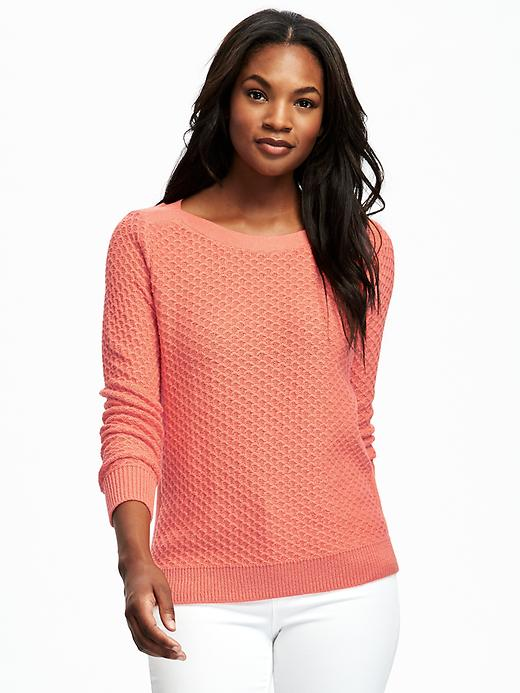 Old Navy Relaxed Textured Boat Neck Sweater For Women Size XXL - Guava nectar
