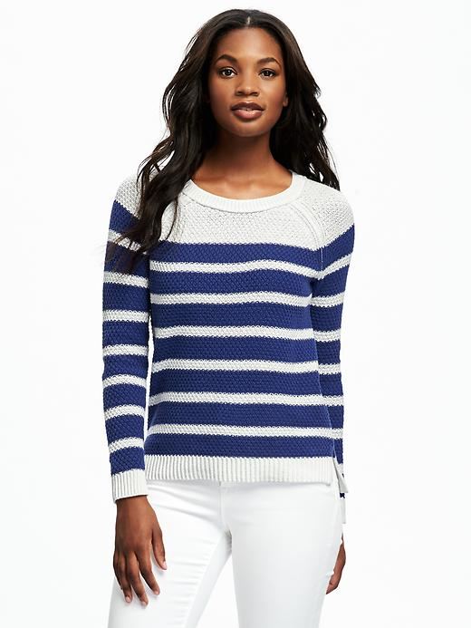 Old Navy Textured Crew Neck Sweater For Women Size S - Blue stripe