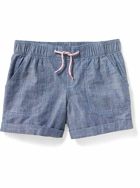 Cuffed Chambray Pull-On Shorts for Girls