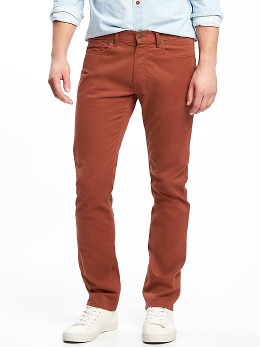 Built-In Flex Slim Brushed-Twill Pants for Men