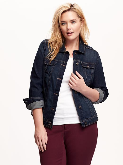 Old Navy Womens Plus Denim Trucker Jackets Size 1X Plus - Dark worn 2 plus size,  plus size fashion plus size appare