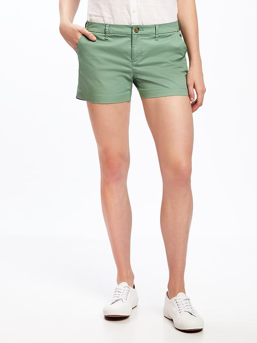 Mid Rise Everyday Khaki Shorts For Women