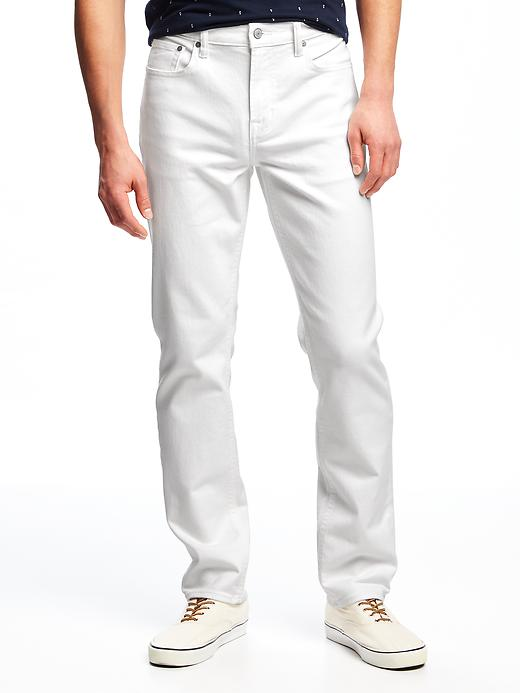 Old Navy Men's Slim Built-In Flex Stay-White Jeans