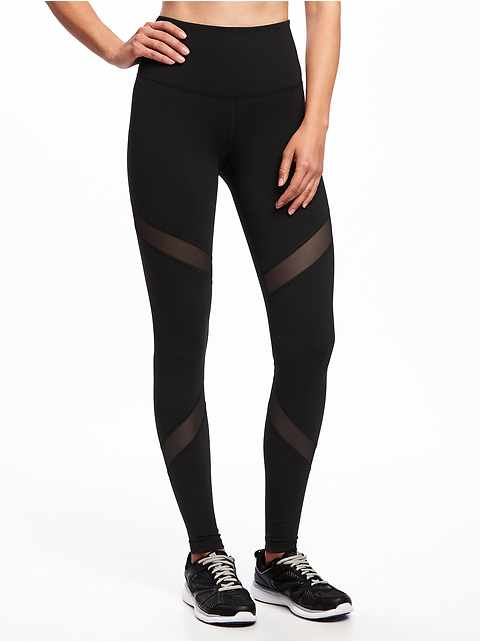 High-Rise Mesh-Panel Elevate Compression Leggings for Women