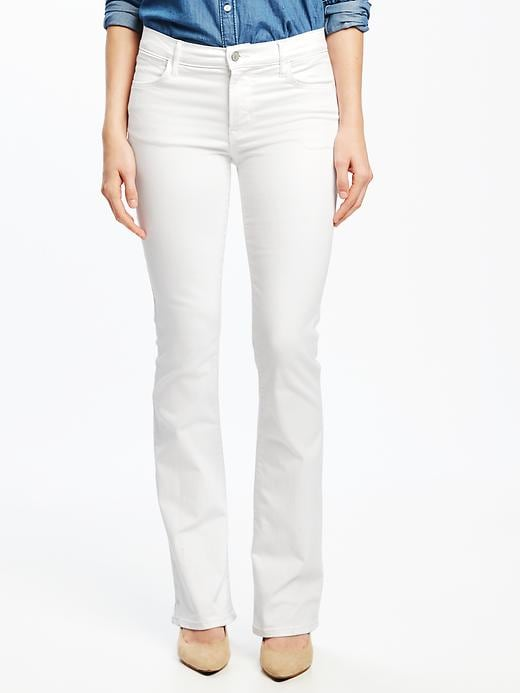 Mid-Rise White Micro-Flare Jeans