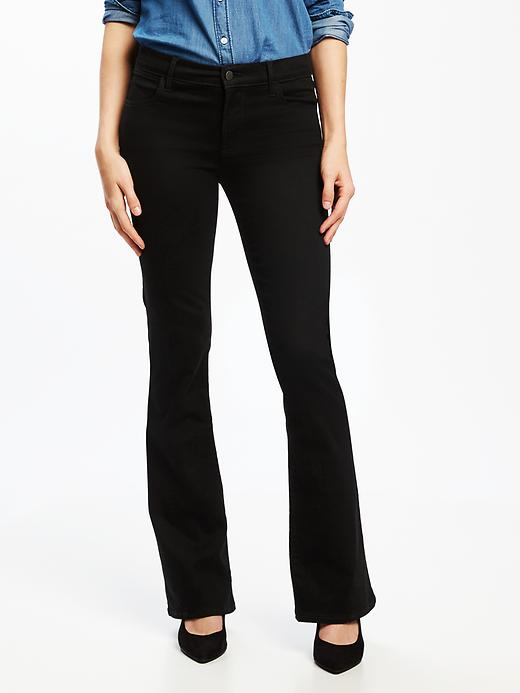 Mid-Rise Built-In Sculpt Black Micro-Flare Jeans