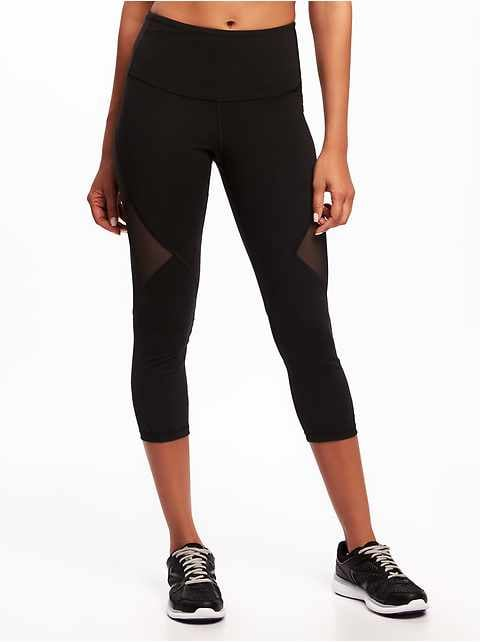 High-Rise Mesh-Panel Elevate Compression Crops for Women