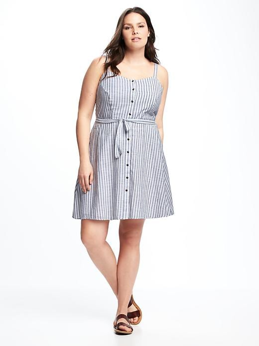 Striped Plus-Size Fit & Flare Dress