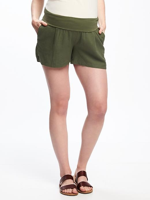 Maternity Roll Panel Linen Blend Shorts