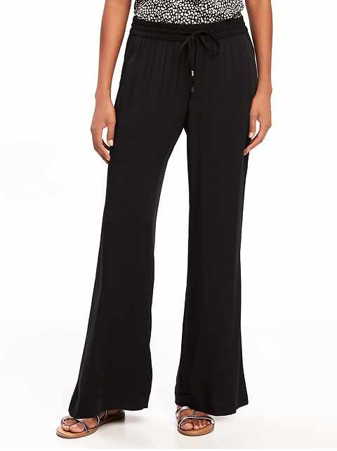 Mid-Rise Soft Wide-Leg Pants for Women