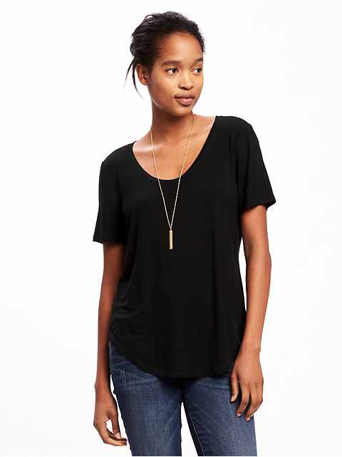 Luxe Curved-Hem Tee for Women