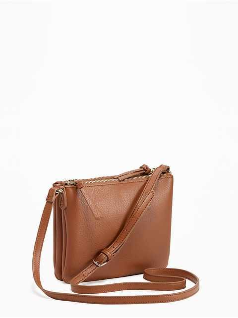 Dual-Zip Crossbody Bag for Women
