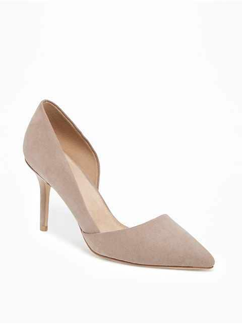 Sueded D'Orsay Pumps for Women
