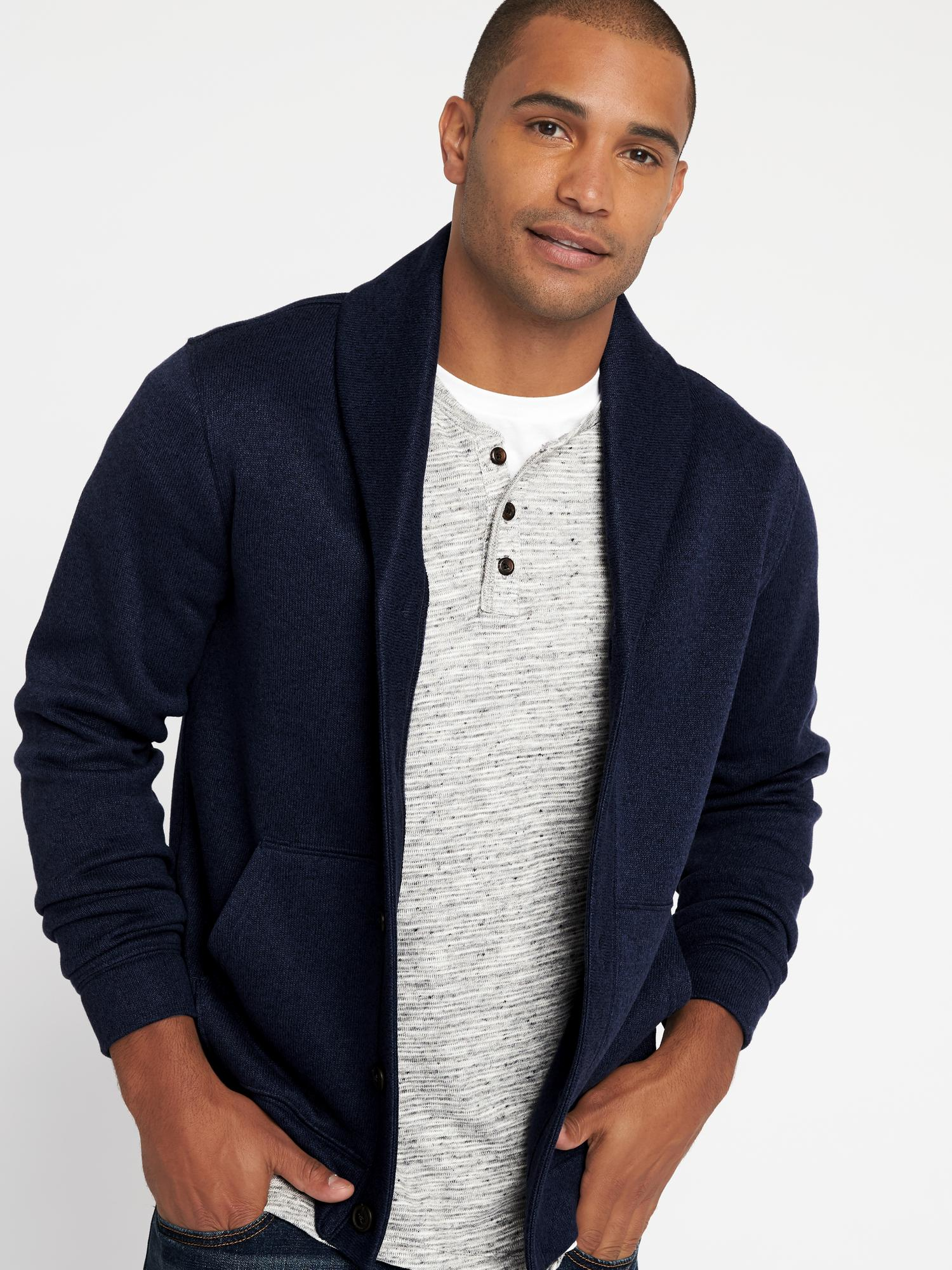 Shawl-Collar Sweater-Knit Fleece Cardigan for Men | Old Navy