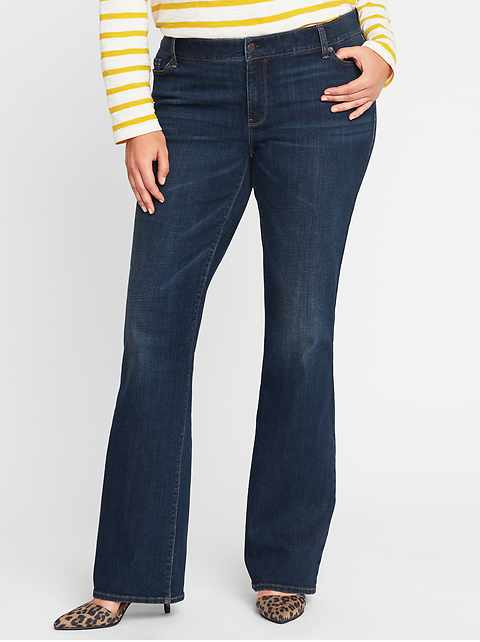 Mid-Rise Secret-Slim Pockets Plus-Size Boot-Cut Jeans