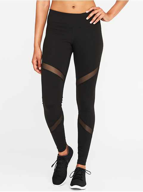 Mid-Rise Mesh-Panel Elevate Compression Leggings for Women