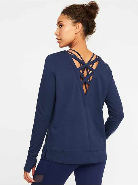 Lattice-Back Sweatshirt for Women