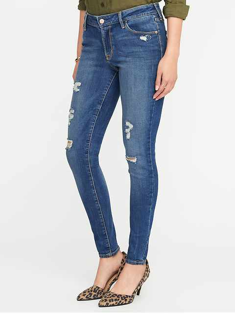 Mid-Rise Distressed Rockstar Super Skinny Jeans for Women