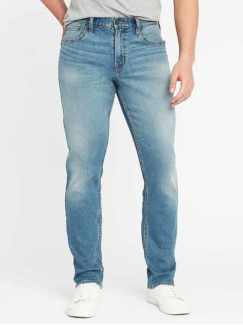 Athletic Built-In Flex Light-Wash Jeans for Men