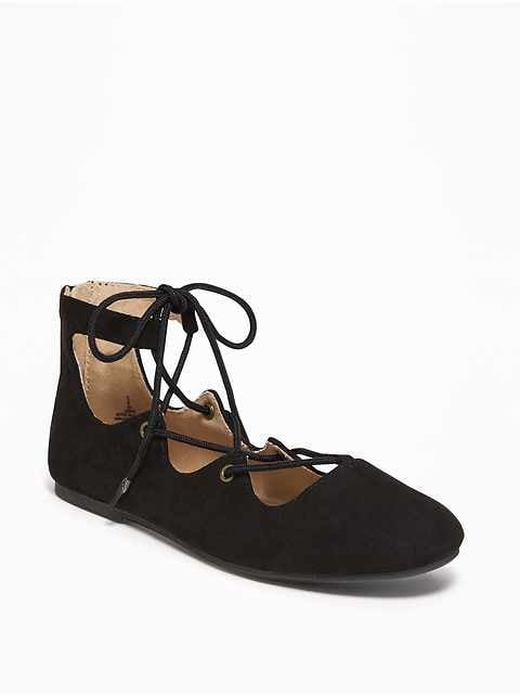 Lace-Up Ballet Flats for Girls